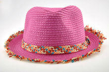 promotional raw colorful band straw sun hat
