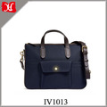 Fabric with Bridle Leather Trim Men Business Work Briefcase with Laptop Compartment