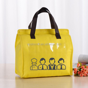 Alibaba Online Whole Foods Lunch Bag With Pvc Front Slash Pocket Non Woven Custom Printed