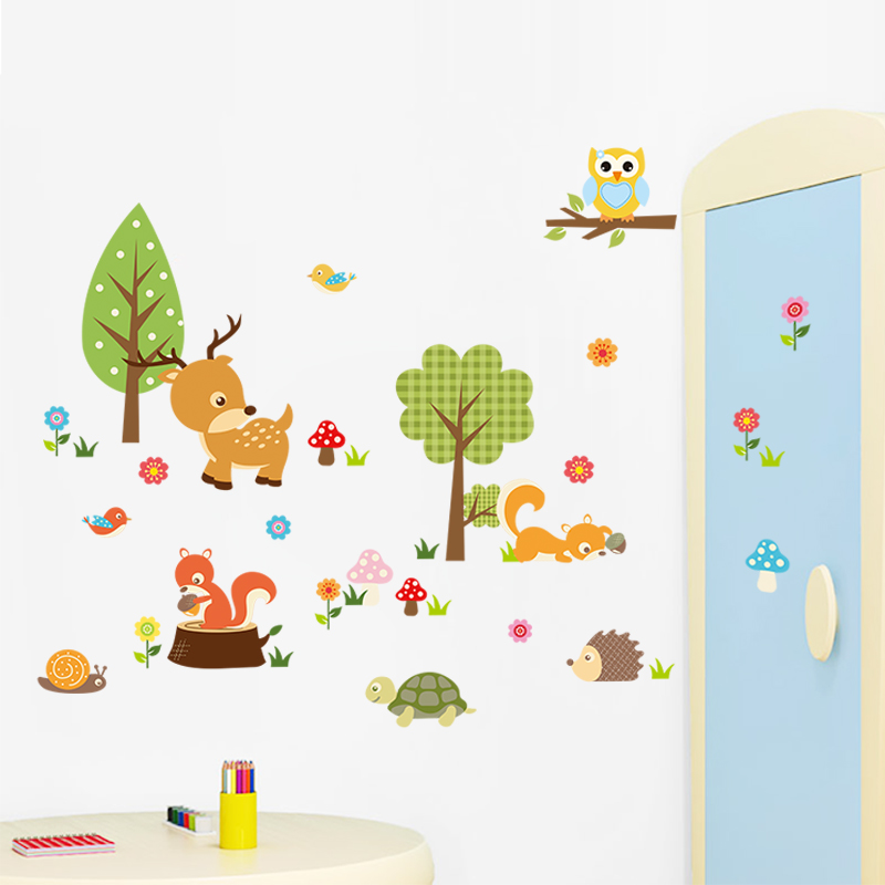 Large Zoo Animal Monkey Owls Fox Wall Decal Sticker Baby's bedroom decor