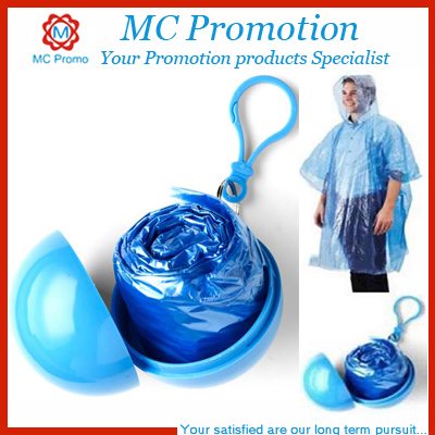 Keychain Attached Ball Design Transparent PVC Rain Poncho