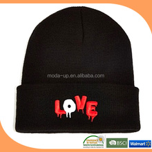 New products 2014 custom beanie with pom,3d acrylic letter beanie,hats beanie made in china