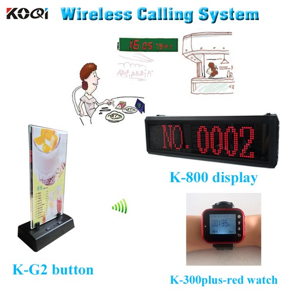 Wireless Calling System Restaurant Table Calling Button Equipment K-800+K-300plus-Red+K-G2