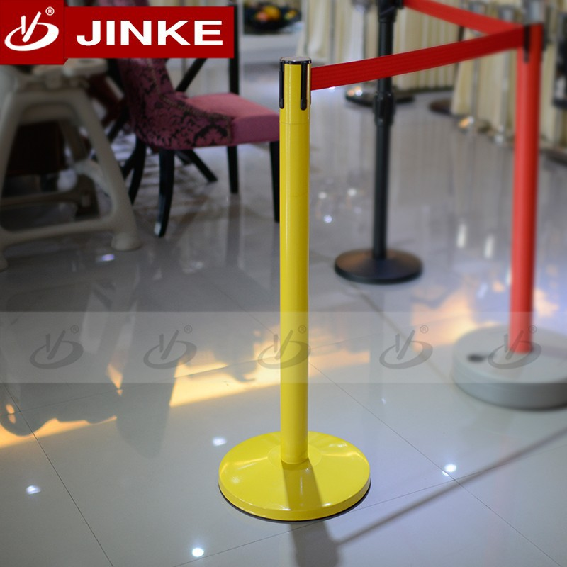 Yellow Powder Coated Stainless Steel Pipe Bollard With Red Belt