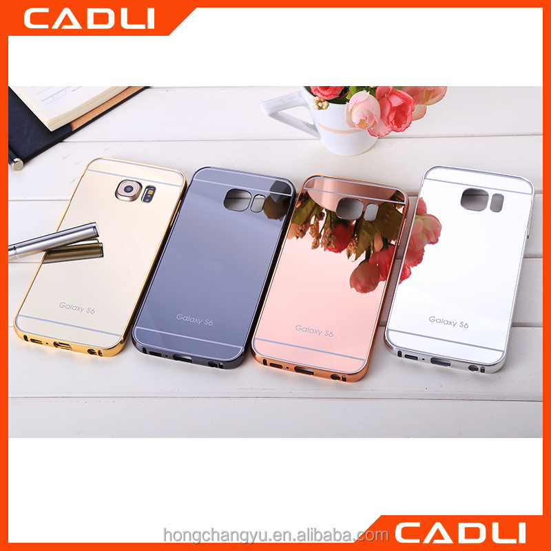 Popular design Colorful Plating Aluminium Frame+Mirror back cover mobile phone shell for Samsung S6