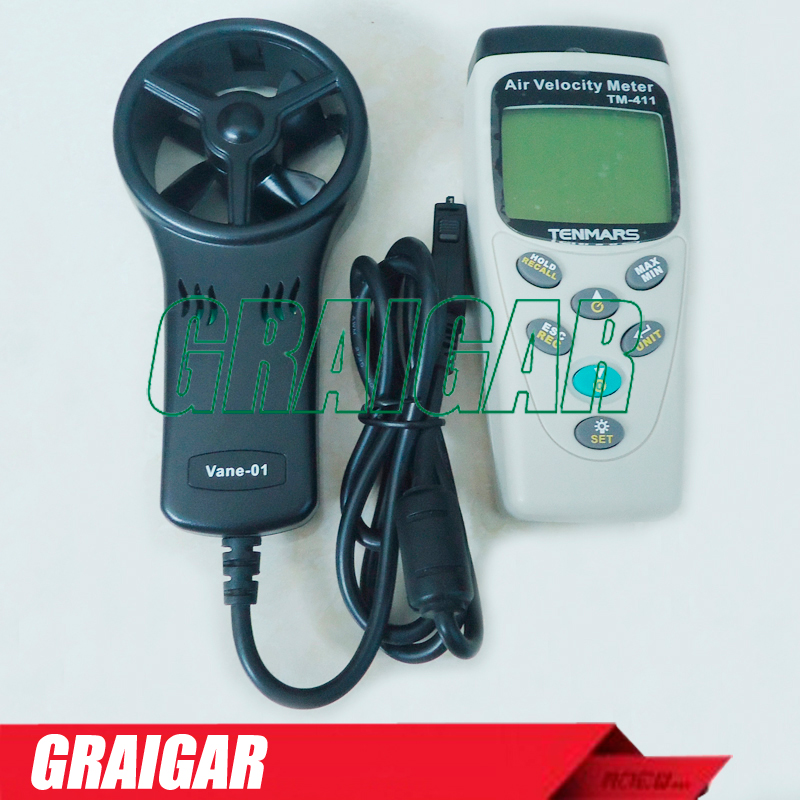 TM-411 High sensitive reaction Air Velocity Meter Anemometer wind speed meter tester gauge