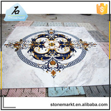 Hotel flooring inlay big size square water jet natural marble medallion