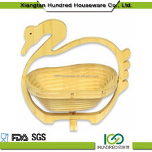 Top Selling China Gold Manufacturer bamboo animal shape folding fruit basket