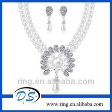 New design imitation pearl diamond pendant bridal jewelry set for wedding party