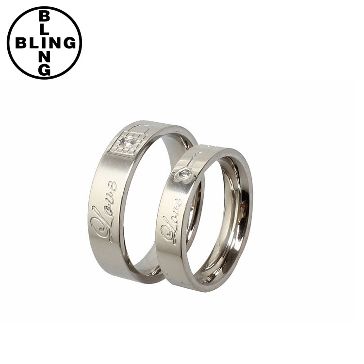 <<< Stainless Steel Couple Rings Korean Jewelry lock/ key his and hers promise ring for lovers/