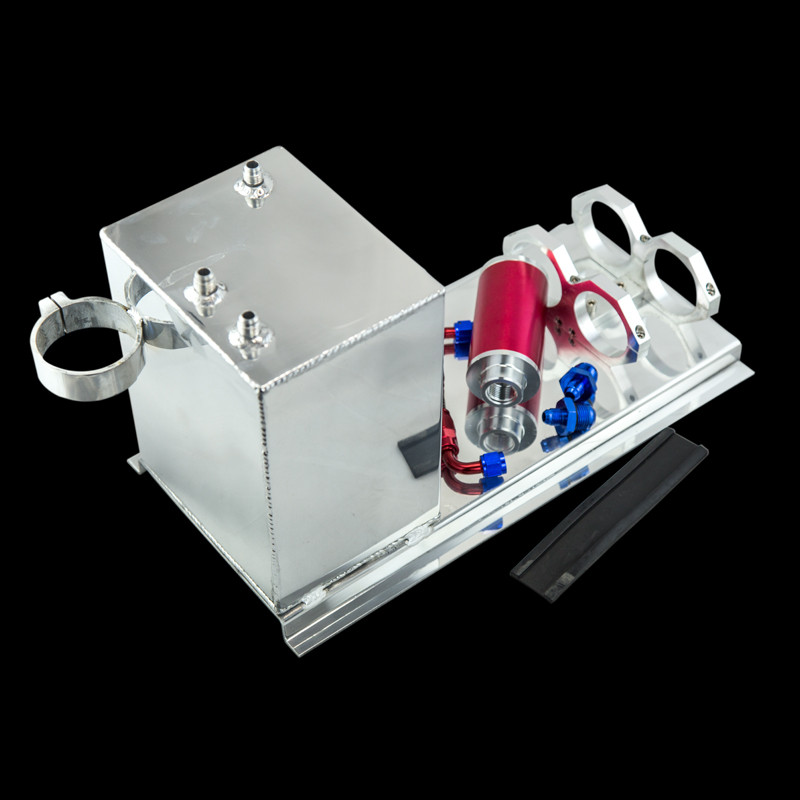 5L Aluminum fuel surge tank/fuel tank/fuel cell 5L polished AN fittings + pump mount + filter + hose PQY-TK45