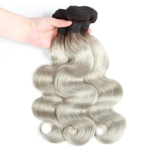 Ombre Two Tone Color 1B/gray Brazilian Virgin Human Hair Extension Weft 100 Grams Body Wave Style Hair Bundles
