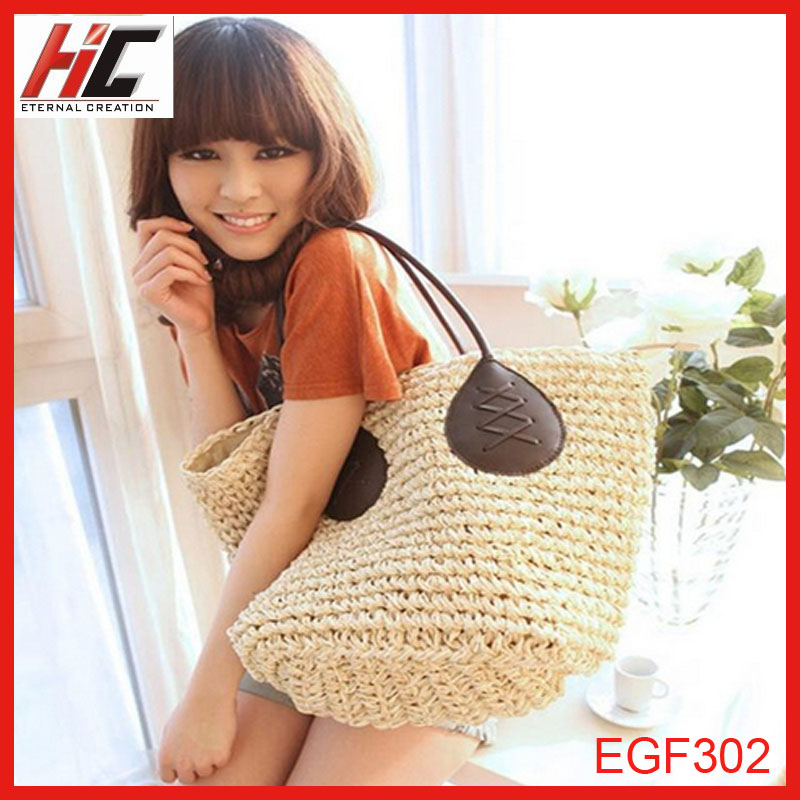 Best hot sale decorative and pratical paper straw beach bag with PU handle