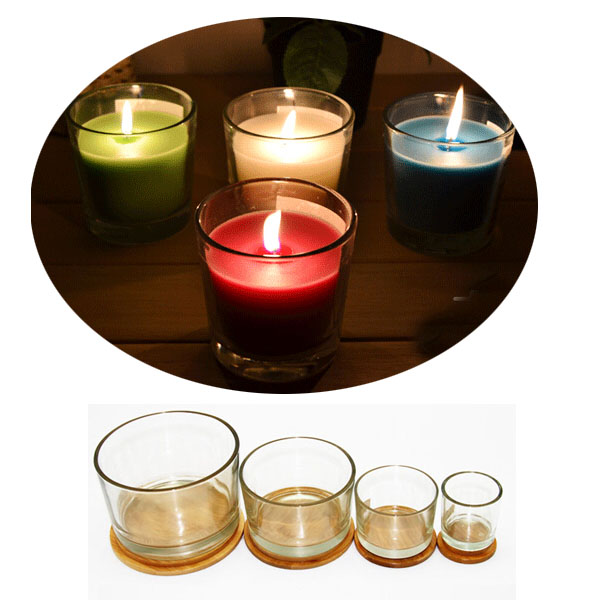 200ML Glass Candle Jars with Bamoo Lids/Empty Glass Candle Jar Wood Lids Low MOQ 200pcs