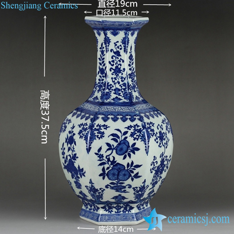 RYTM56 Factory outlet cheap 6 sides blue white floral pattern ceramic vase