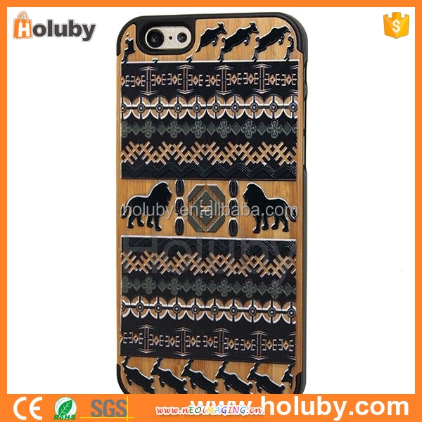 mobile accessories Tribal Pattern Colorized Painting Natural Wood Coated PC Hard Case for iPhone 6 6S 4.7 inch