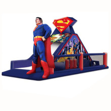 most popular superman theme inflatable obstacle course/ super man obstacle challenge race with slide for hire