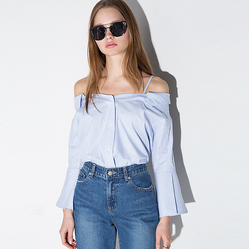 Summer New Fashion Ladies long sleeve Tops sexy off shoulder blouse Sexy Casual Blouses Clothing For Women 2016