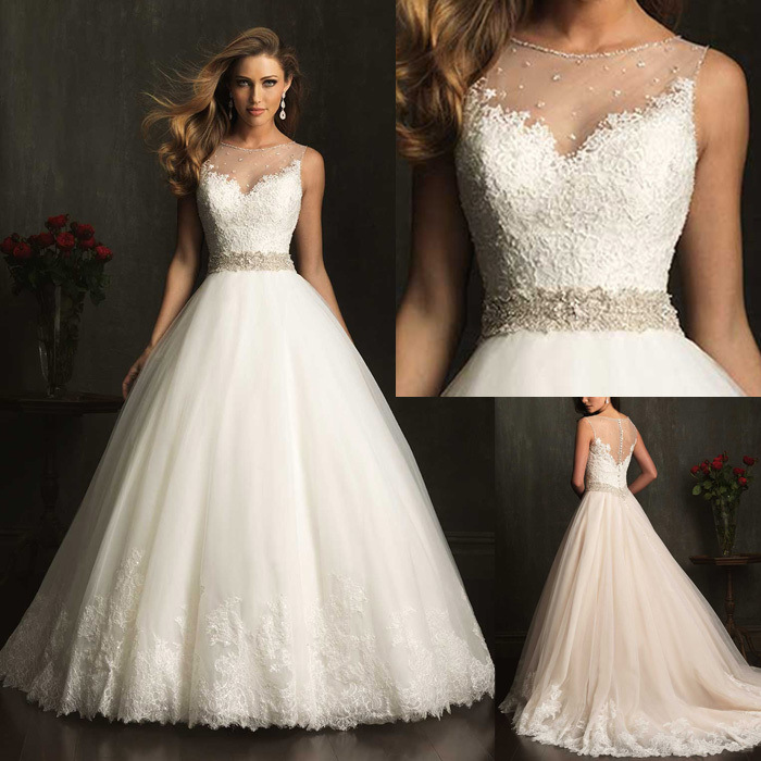 06W54 Custom Made Vestidos De Novia A-line Illusion Neckline Sexy Backless Bridal Gown Lace Wedding Dresses 2016 in Store