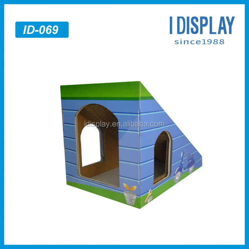 corrugated cat paper house cardboard pets playing house