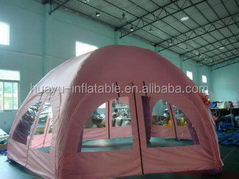 Red color outdoor comping inflatable tent with led light