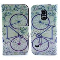 New Arrived Wallet Foldable Stand Cross Texture Bicycle Leather Case for Samsung Galaxy S5 mini SM-G800