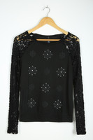 Lace Raglan Sleeve with Front Panel Embellished & Printed Lady Blouse