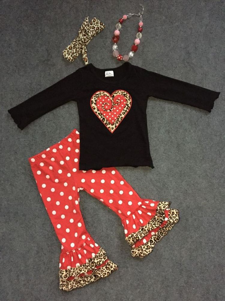 2016 new Valentine outfit baby girl clothes 2-7t fashion V-day red white dot pants with matching accessories
