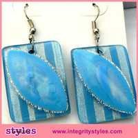 Newest unique hanging glitter lucite square earring