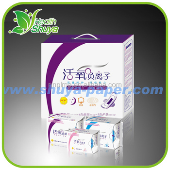 Lady super absorbent nano silver anion sanitary napkin in french