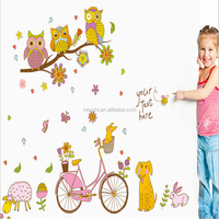 Interesting cute owls dogs bicycle flowers sticker girs or boys rooms bedroom living room wallpaper pvc removable diy decoration