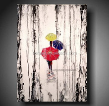 canvas oil paintings people under colorful umbrella romatic oil painting on canvas decorative pictures abstract oil painting