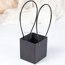 Black Paper Bag Flowerpot Shop Packing Material Fresh Plant Flower Carrier Waterproof Bags