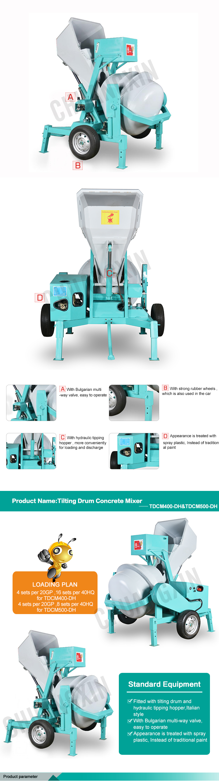 New product tilting drum self loading concrete batching machine