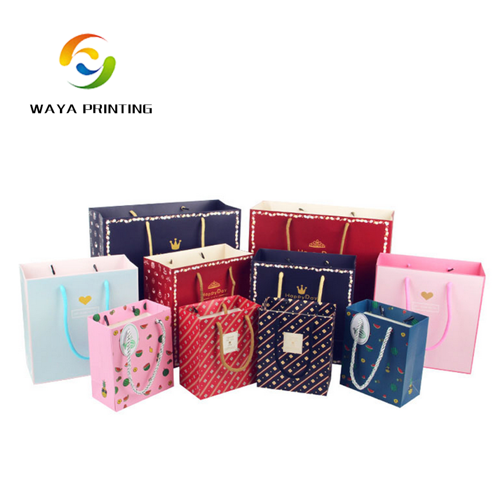 Wholesale gift packaging custom logo colorful paper bags for shop