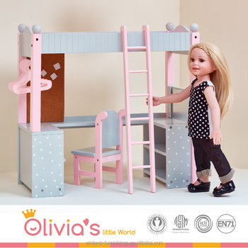 Olivia's Little World - College Dorm Double Bunk Desk (Grey Polka Dots)| 18 inch Doll Furniture