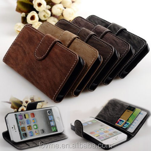 Luxury Leather Vintage Flip Wallet Stand with Card Holder Case for iPhone 5 5s