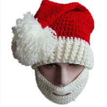 High Quality Red Knitted Christmas Hats With Pom Pom And Beard