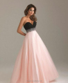 black pink combine beaded sweetheart sleeveless latest evening dress