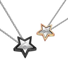 Star shaped Say Love with Diamond Stainless steel Couple Pendant Necklaces Christmas gift for Lover