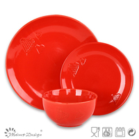 16PCS Red round shape stoneware color glaze embossed ceramic dinnerset /16pcs cookware set