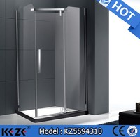 square free standing corner shower pivot door glass enclosure
