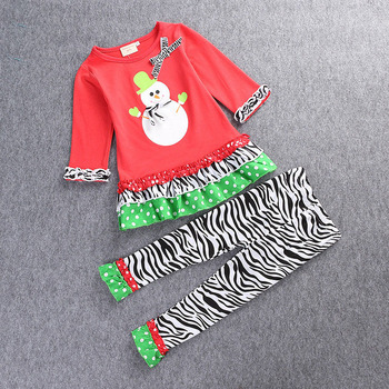 Christmas Party Kids Set For Little Girl Snowman Printed Children Sleepwear Clothings Set