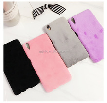 High quality soft cute fur phone cover for R9s, cute short plush floss phone case for iPhone 7 with knit exquisite hat TPU+PC