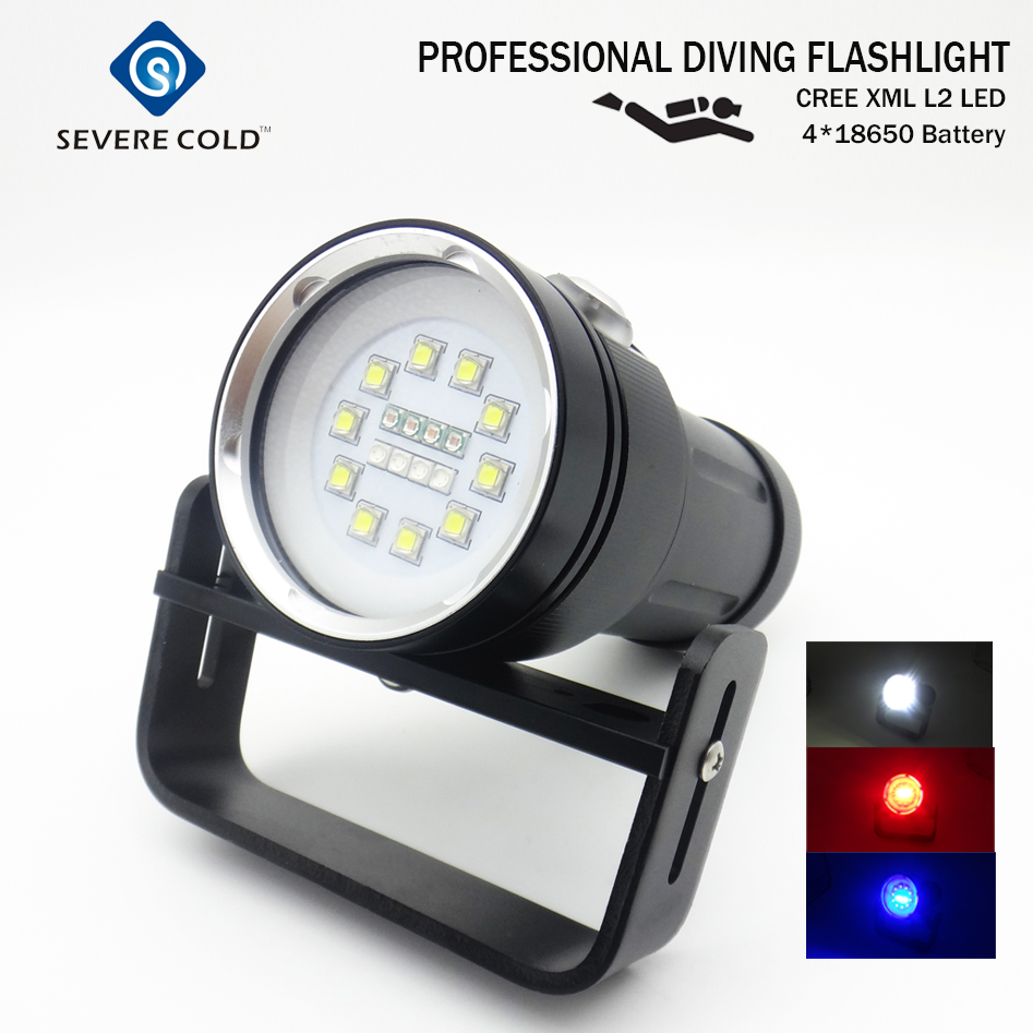 High Quality Professional Diving Flashlight XM-L2 LED White Red Light UV Dive Light Underwater Video Diving Flashlight