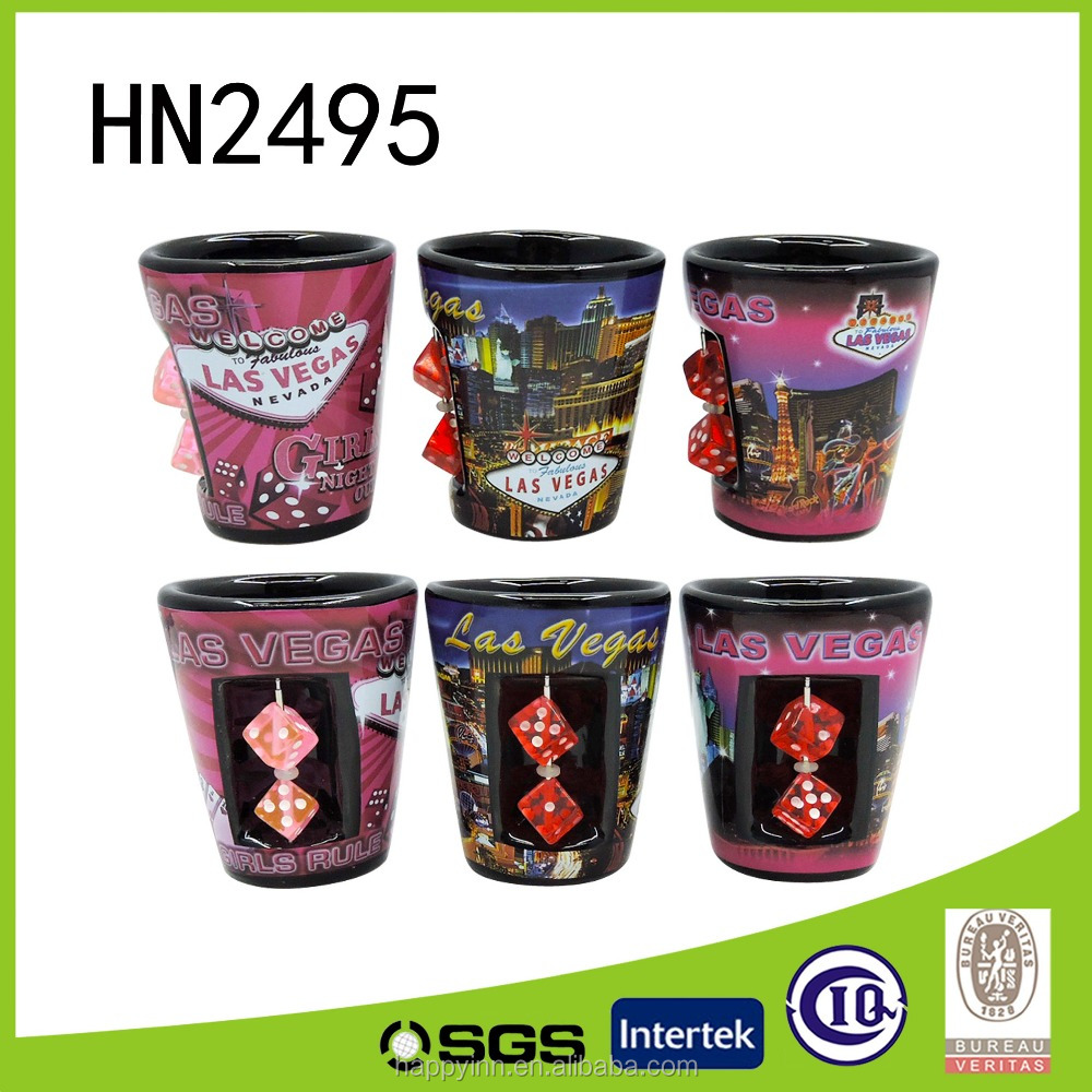 Special design shot ceramic wine cup with Dice decoration