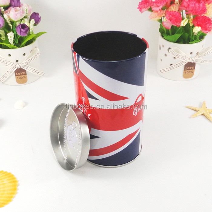 Custom new design cheap round metal pen holder tin box