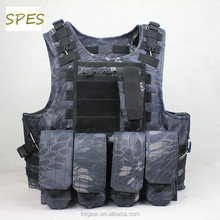 Spes Hunting Military Molle FSBE Style Combat Paintball Tactical Carrier Vest with 7 Customizable Modular Pouches