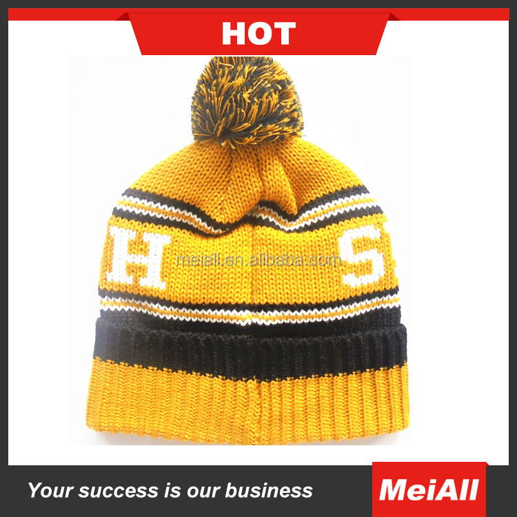 2016 wholesale custom jacquard knit pom beanie with embroidery knitt benaie hat cap