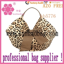 2014 leopard satin fashion tote bags for ladies